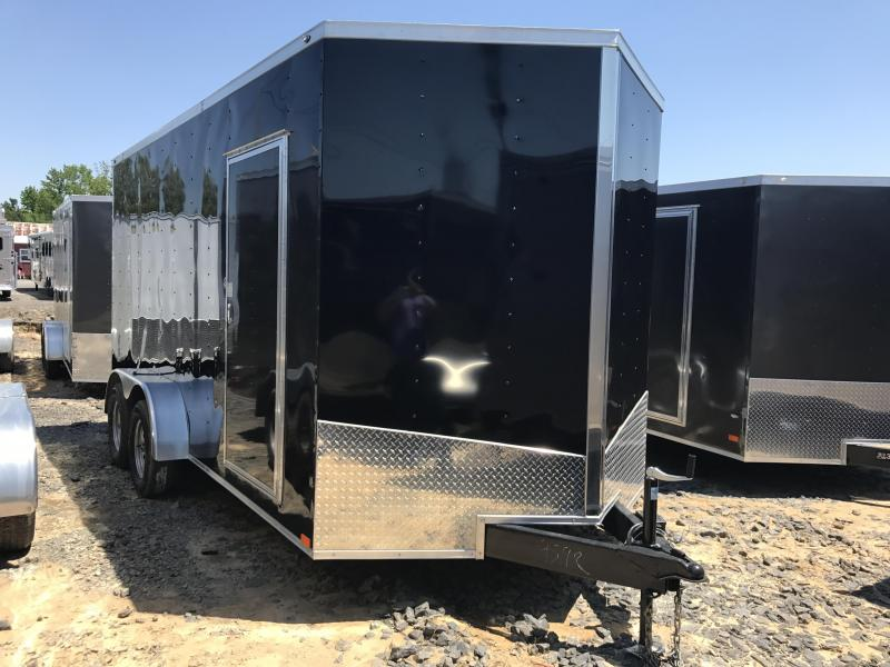 7x16 Enclosed Cargo Trailer-7' Height-Ramp-Black