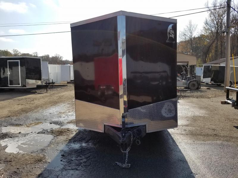 """7x16 Enclosed Cargo Trailer-Ramp-Black-6'6"""" Height-CLEARANCE"""