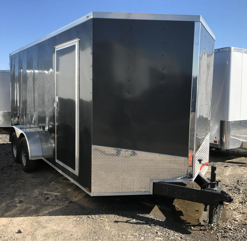 7x16 Enclosed Cargo Trailer-Ramp-Charcoal-6'6