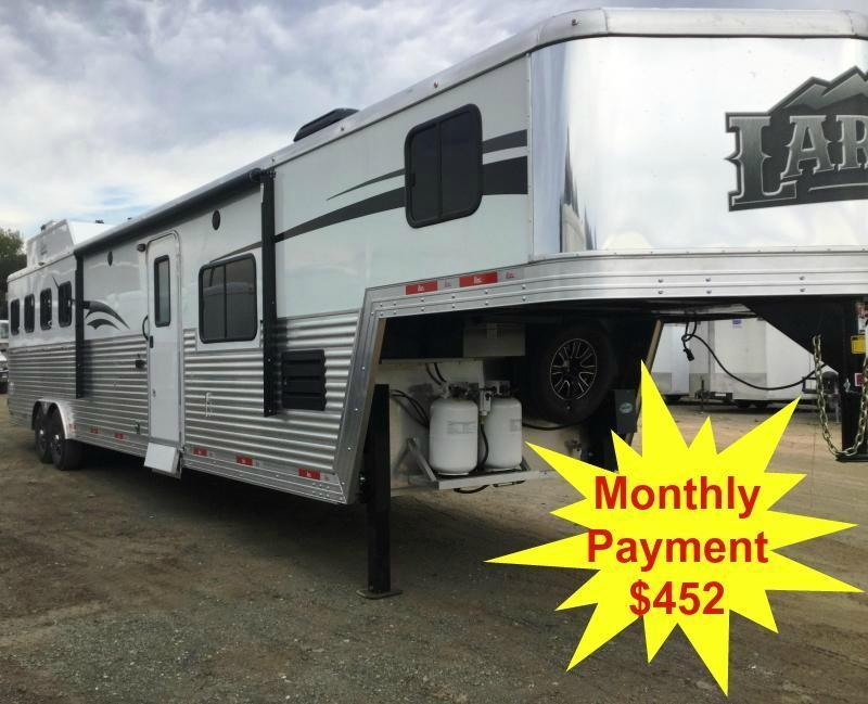 2017 Bison 8414LD Laredo 4 Horse Living Quarters Trailer-Slide Out With Sofa and dinette