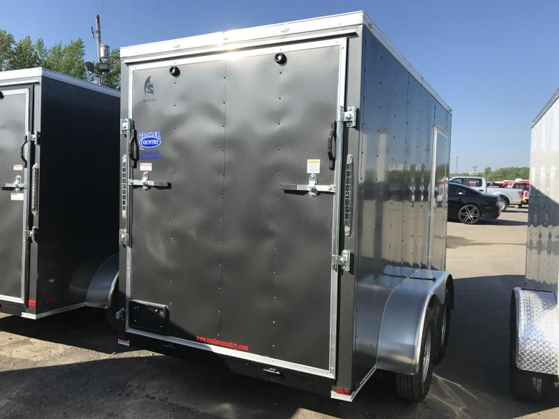 6x12 Tandem Axle Enclosed Cargo Trailer-Charcoal-6'6 Height-Ramp