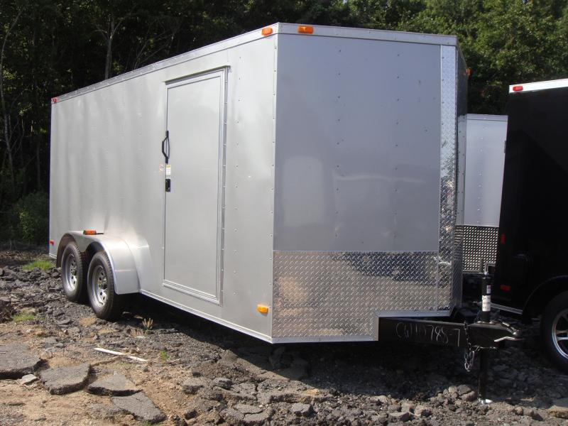 7x16 Enclosed Cargo Trailer-Ramp Door-Silver-CLEARANCE