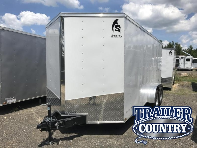 "7x16 Enclosed Cargo Trailer-6'6"" Height-Double Doors-White"
