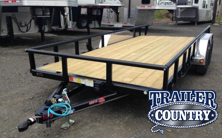 83x14 PJ Tandem Axle Utility Trailer-Rear Gate-Side Ramps-Dovetail