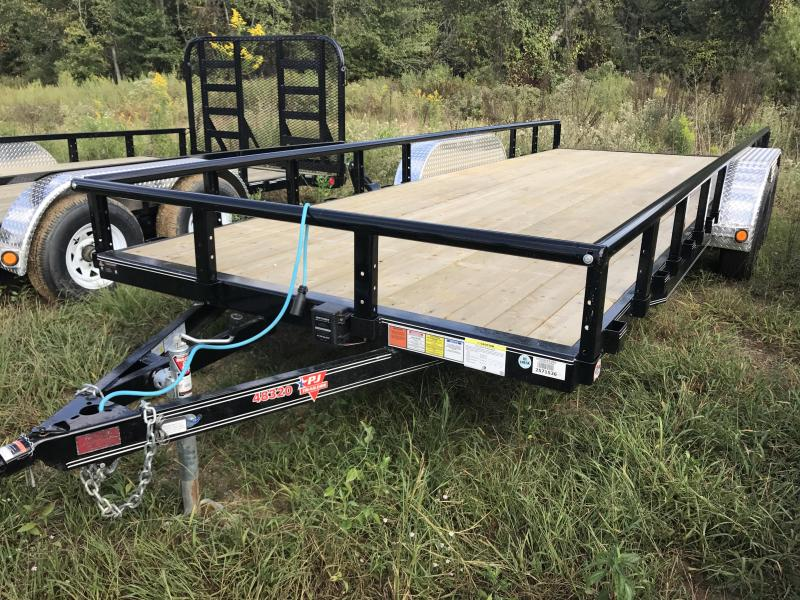 83x20 PJ Utility Trailer-Rear Ramps-Pipe Top