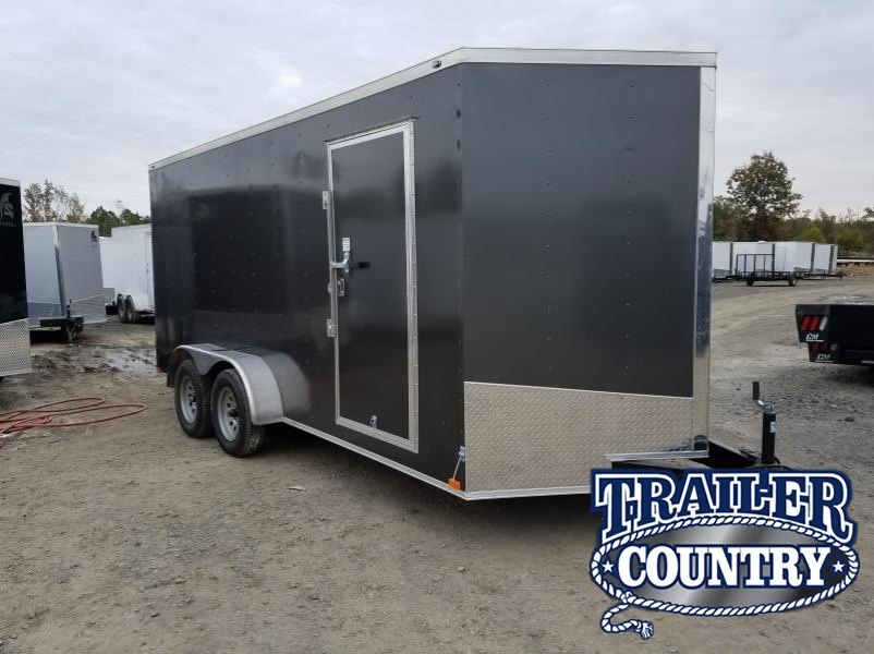 "7x16 Enclosed Cargo Trailer-6'6"" Height-Ramp Door"