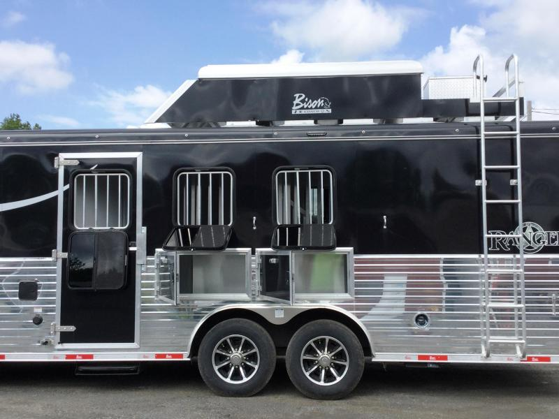 2018 Bison Trailers 8314RGBHRSL 3 HORSE RANGER WITH BUNK HOUS SIDE LO Horse Trailer