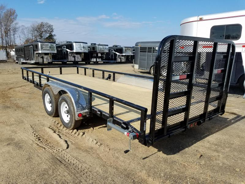 "83x20 PJ Utility 5200lb axles-16"" Dovetail-4' HD Fold Up Gate Spare Tire Mount"