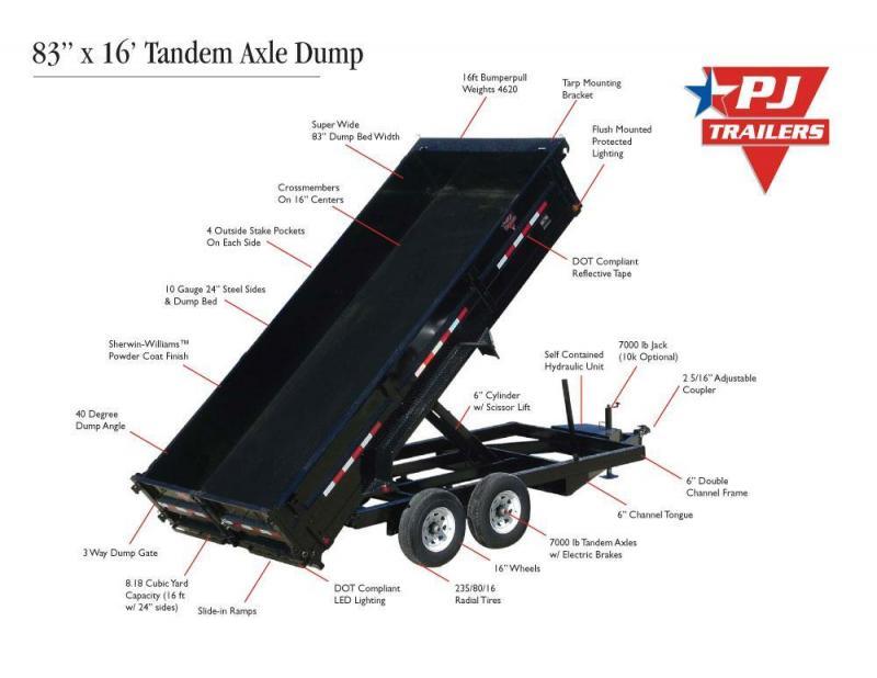 83x16 PJ Gooseneck XL Dump Trailer with Tarp