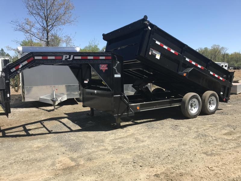 83x14 PJ Gooseneck Lo Pro High Side Dump with Tarp
