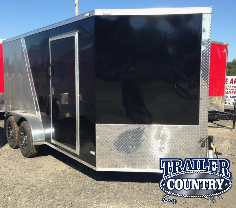 7x14 Enclosed Motorcycle Trailer-Black/Pewter-CLEARANCE