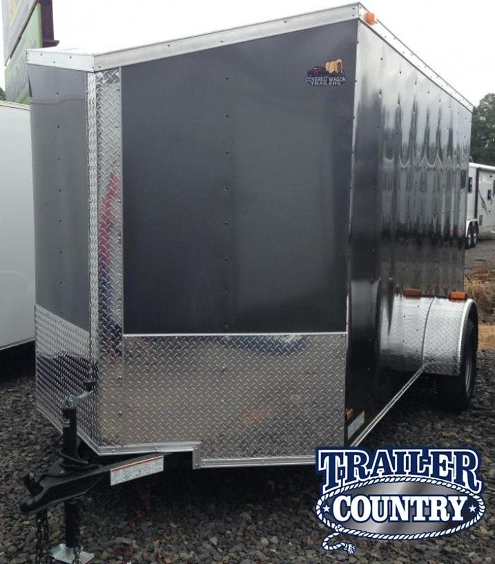6x12 Enclosed Cargo Trailer-Ramp Door-Charcoal