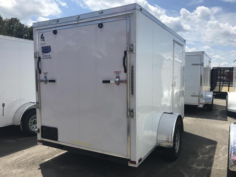 6x10 Enclosed Cargo Trailer-Ramp Door-White