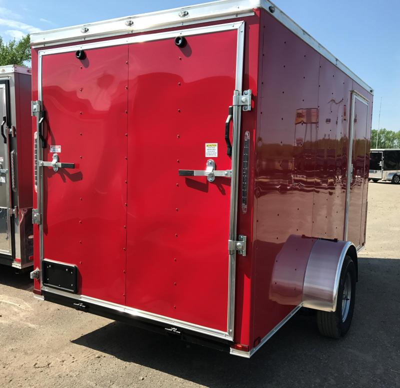 6x12 Enclosed Cargo Trailer-Red-Ramp Door