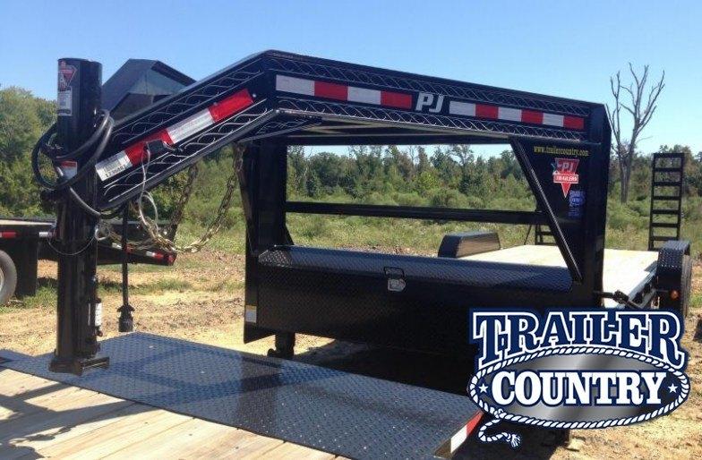83x24 PJ Gooseneck Equipment Trailer-Slide In Ramps