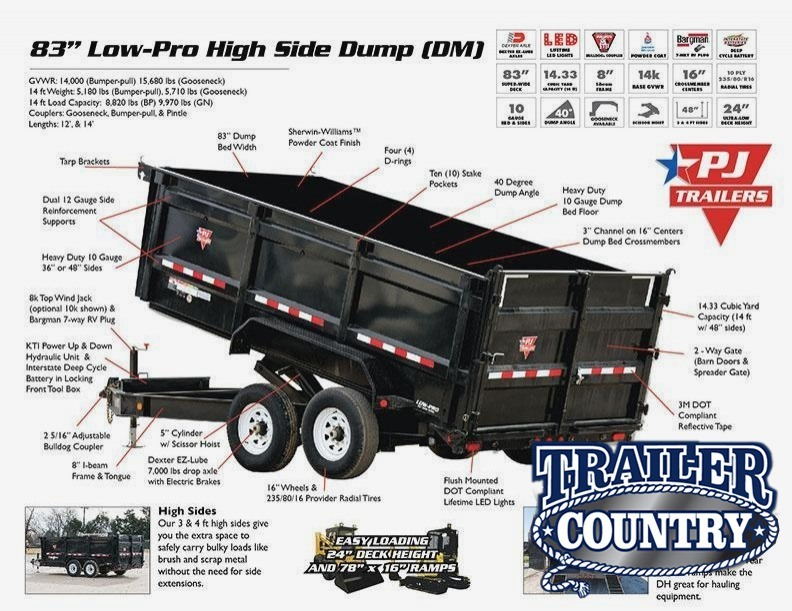 83x16 PJ XL Lo Pro High Side Dump-7K Axles