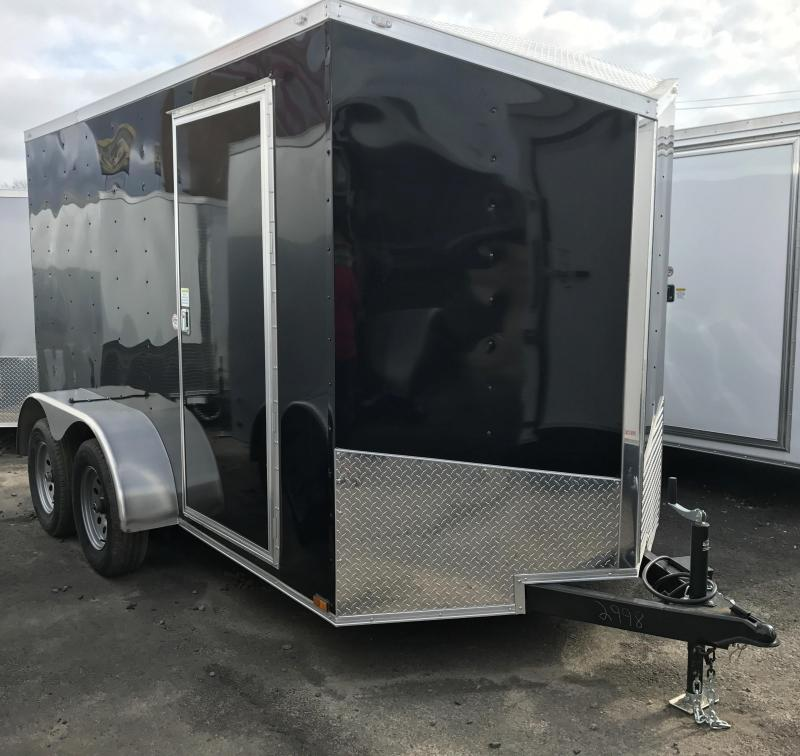 6x12 Tandem Axle Enclosed Cargo Trailer-Ramp-Black