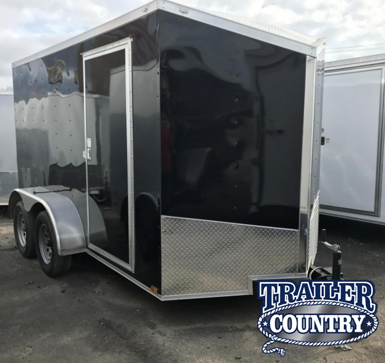 6x12 Tandem Axle Enclosed Cargo Trailer-Ramp-Black