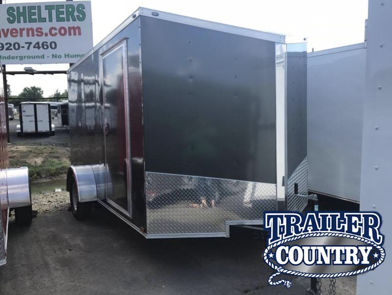 7x12 Enclosed Cargo Trailer-Charcoal-Ramp Door