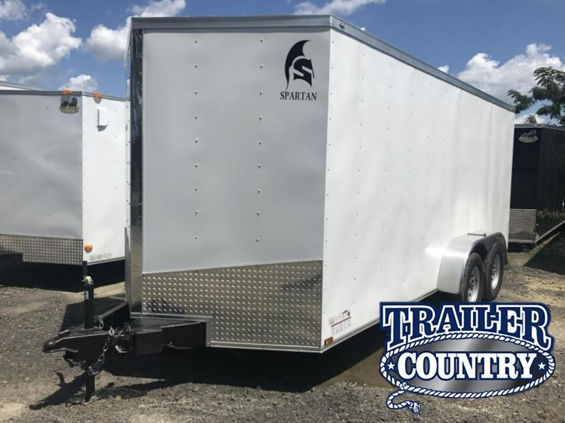 7x16 Enclosed Cargo Trailer-White-Ramp Door