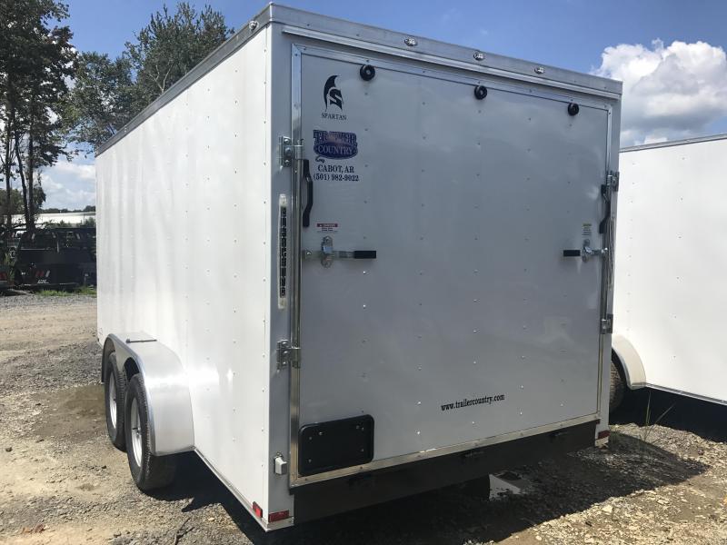7x16 Enclosed Cargo Trailer-White-Ramp Door