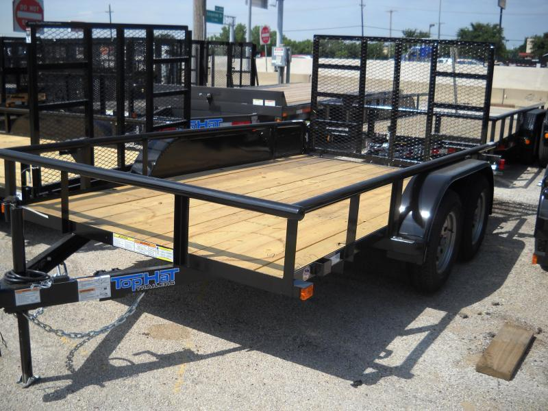 2018 Top Hat Pipe Top 6.5X12 Tandem Utility Trailer