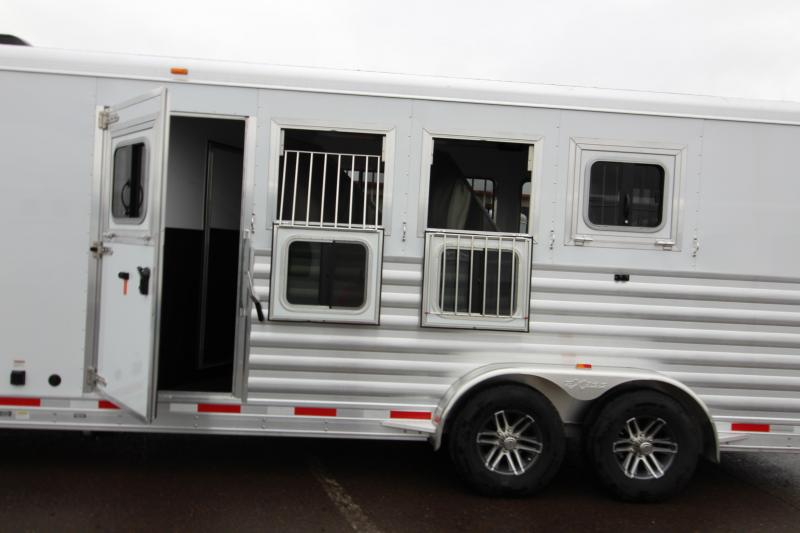 "2018 Exiss 7410 10' SW LQ  - 4 Horse All Aluminum Trailer - 7'8"" Tall - Power Awning - Aluminum Wheels - Easy Care Flooring"