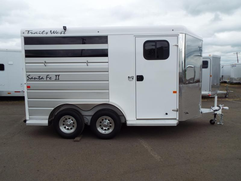 2017 Trails West Santa Fe - Steel Frame Aluminum Skin - 2 Horse Slant Trailer - Removable Plexi Glass Inserts - Fully Enclosed Tack Room - Swing Out Saddle Rack
