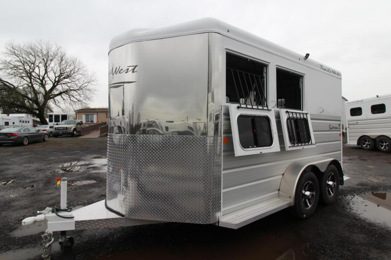 "2018 Trails West Sierra II 7' 6"" Tall 2 Horse Trailer - Aluminum Skin Steel Frame - Swing out Saddle Rack"