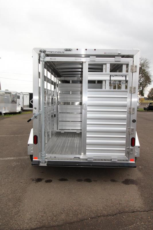 2018 Featherlite 8117 16 ft. Stock Trailer - All Aluminum w/ Center Gate & Slider Rear Gate