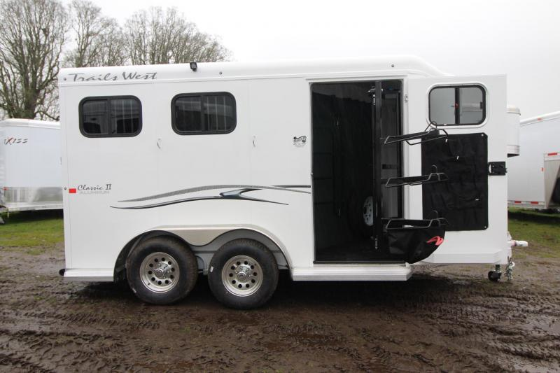 2018 Trails West Classic II 2 Horse Trailer - Aluminum Skin Steel Frame - Escape Door - Swing out Saddle Rack