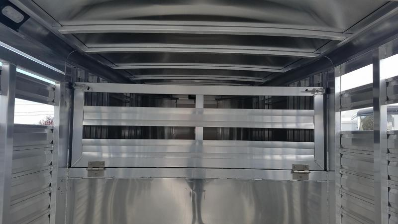 "2017 Exiss STK 7024 -All Alumium - 7' 2"" Tall - Slider In Center Gate 24' Livestock Trailer"
