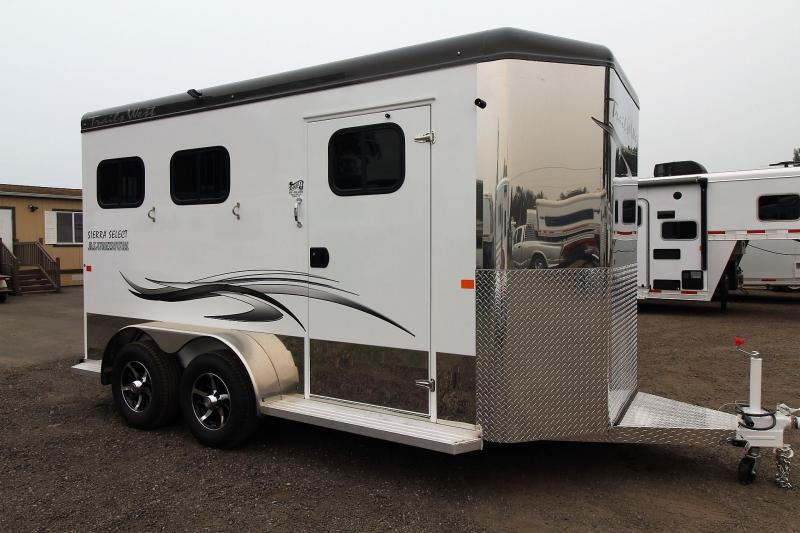 """2018 Trails West Sierra Select 7' 6"""" Tall - Seamless Aluminum Vacuum bonded walls and roof - 2 Horse Trailer with escape door"""