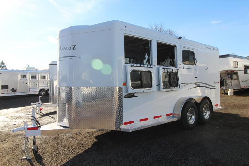 2018 Trails West Classic II Aluminum Skin Steel Frame 3 Horse Trailer - Swing out saddle rack and blanket bars - Water Tank