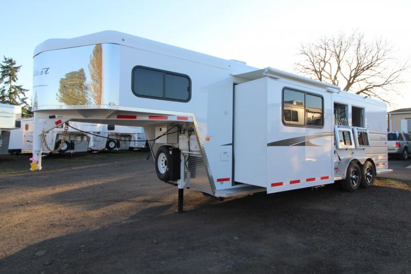 2018 Trails West Sierra 8x13 W/ Slide out - 3 Horse Living Quarters Trailer - Mangers - Hoof Grip Easy Care Flooring