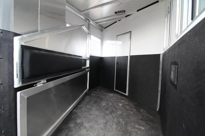 2017 Exiss Express 7204 - Lower Stud Panel - Electric Panel - Metallic Black - Living Quarters 2 Horse Trailer