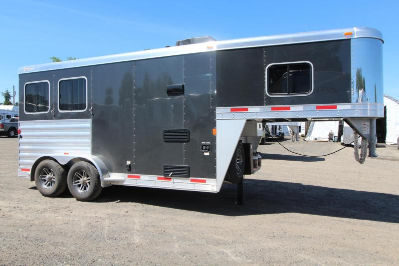 2017 Exiss Escape 7204 - Electric Awning - Lower Divider Panel - 2 Horse Living Quarters Trailer