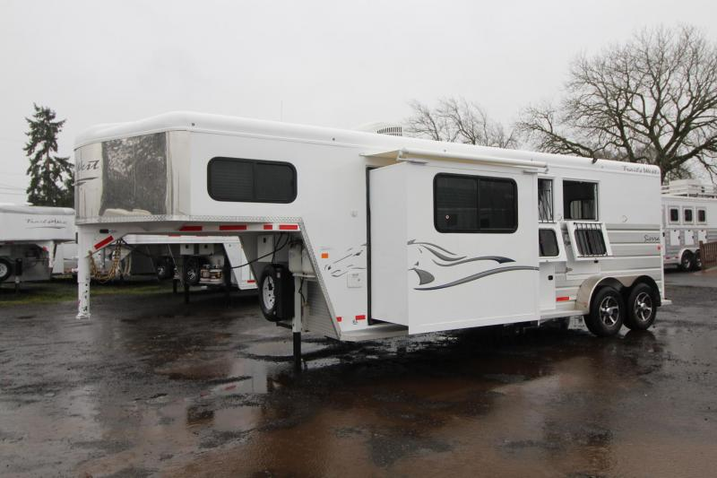 2018 Trails West Sierra 8x13 W/ Slide out 2 Horse Living Quarters Trailer - Hoof Grip Easy Care Flooring -