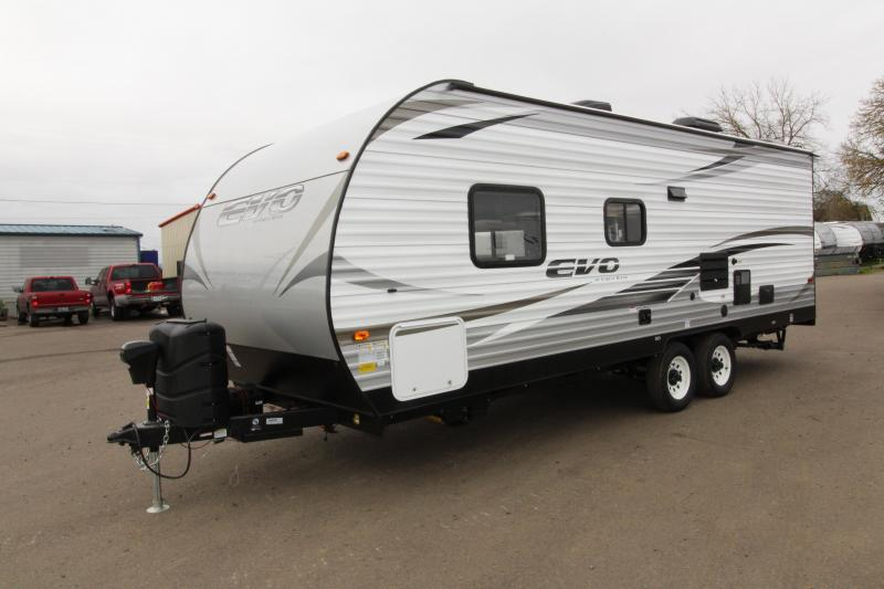 2018 Evo 2250 Travel Trailer - Full Walk on Roof - Power Awning - Triple Bunk Beds - Sleeps 7! - Arctic Package - Solar Power Prep - Silver Birch Interior Decor