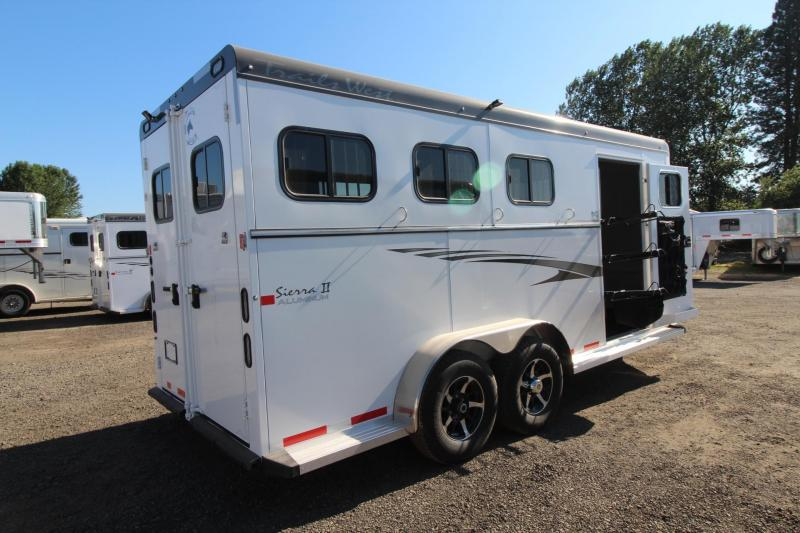 """2017 Trails West Sierra 7'6"""" Tall - 2ft extension to Tack room - Escape Door - Aluminum Skin Steel Frame -  3 Horse Trailer"""