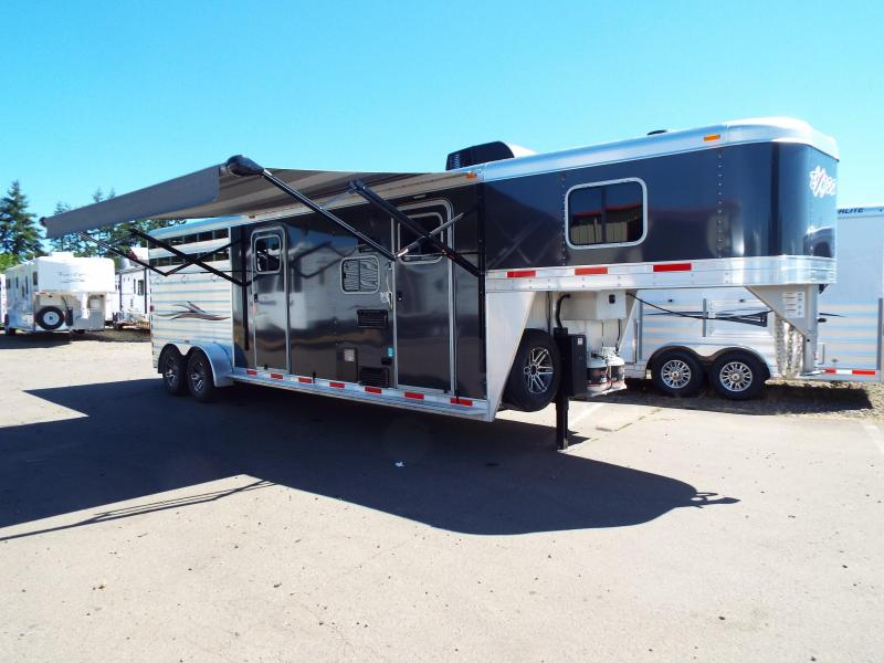 2017 Exiss 6311 -  CUSTOM - 11 ft SW LQ w/ Side Tack 3 Horse Stock Combo Trailer - Side Tack Room - Power Awning - UPGRADED Easy Care Flooring
