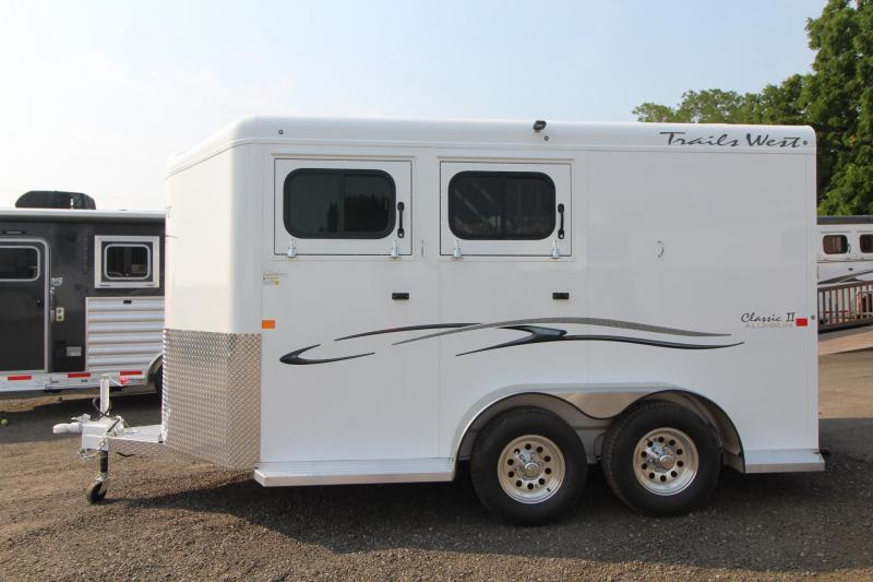 2018 Trails West Classic - Aluminum skin steel frame - Aluminum Wheels - 2 Horse Trailer
