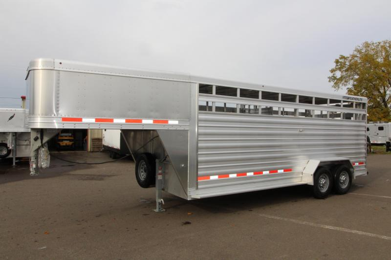 2018 Featherlite 8117 20 ft. Stock Trailer - All Aluminum w/ Center Gate & Slider Rear Gate