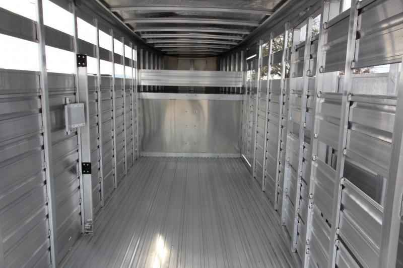 2018 Featherlite 8117 20 ft. Stock Trailer - All Aluminum w/ Center Gate & Slider Rear Gate