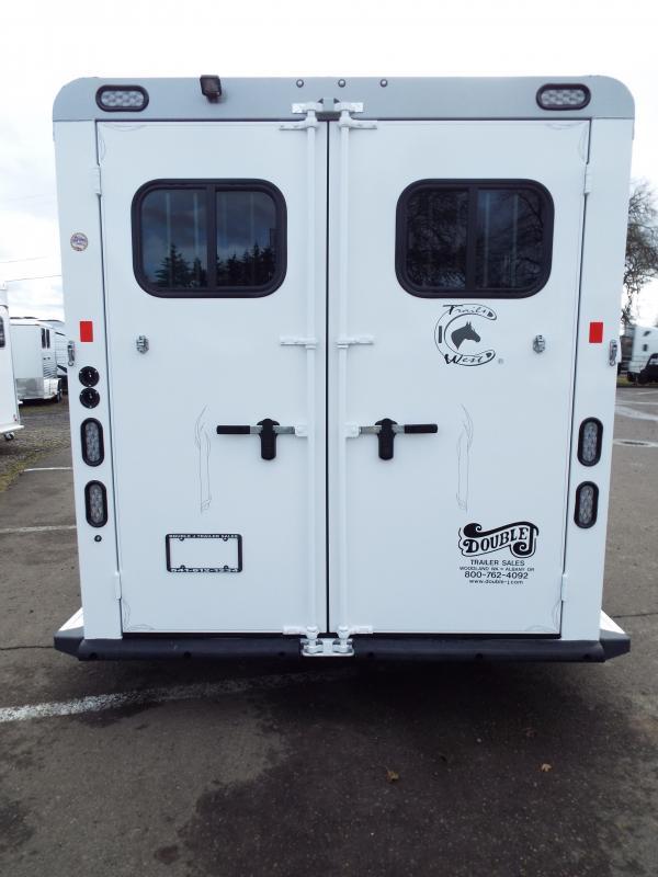 2017 Trails West Sierra Specialite 2 Horse Trailer - Aluminum Skin - Swing Out Saddle Rack! - Rear Broom Closet!