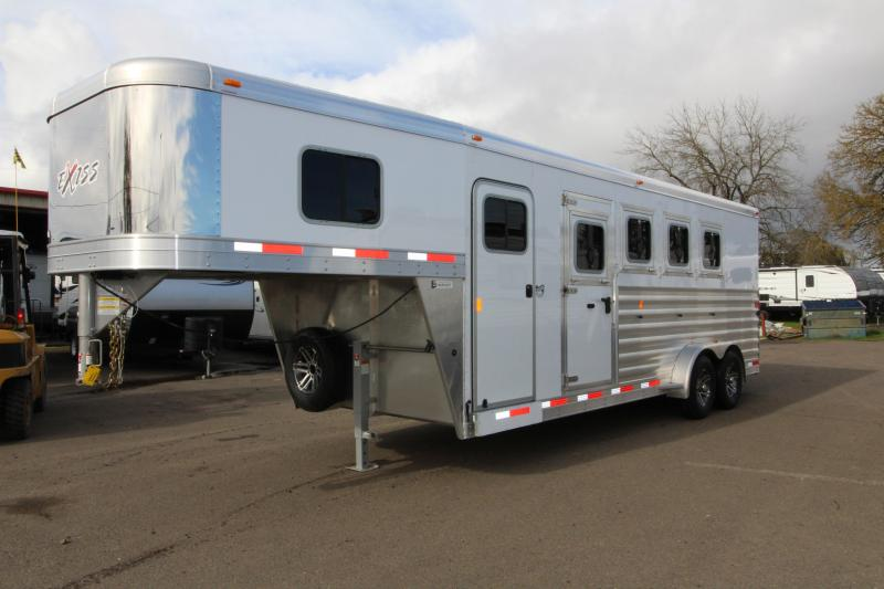 "2018 Exiss 7400 - 7'6"" Tall 4 Horse Trailer - Rear Tack - Polylast Flooring - Jail Bar Dividers"