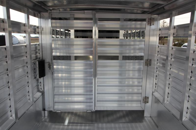 "2018 Exiss STC 7022 22' Stock Combo Trailer - 6'8"" Tall - All Aluminum - Large Curb Side Escape Door - Center & Rear Gates with Sliding Sort Doors"