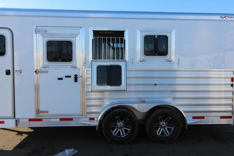 """2018 Exiss 7300  - 3 Horse Trailer - All Aluminum - Stud Wall - UPGRADED Easy Care Flooring - 7'8"""" Tall"""