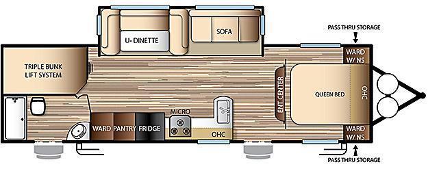 2017 Evo Model 2700 Travel Trailer - Triple Bunks on Power Lift System - Power Jacks & Awning - Arctic Package - Stainless Steel Appliances - Sleeps 9!