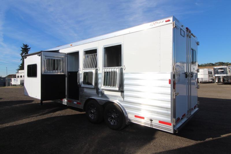 2017 Exiss Endeavor 8310 W/ Slide - 10ft short wall -Wood interior upgrade - Mangers - 3 Horse Trailer